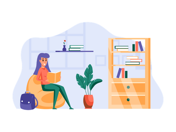 Girl reading a book at home Illustration
