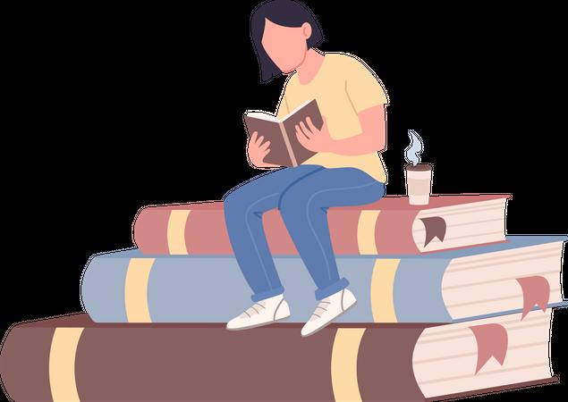 Girl reading book Illustration
