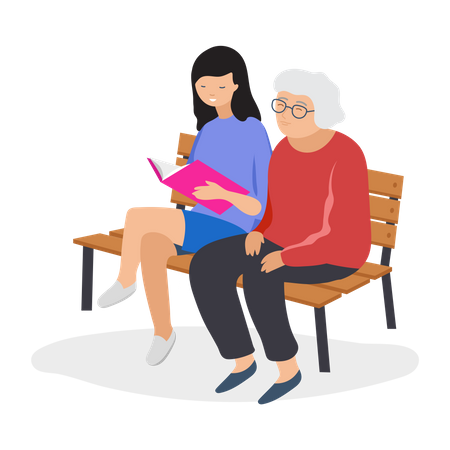 Girl reading book for old woman Illustration
