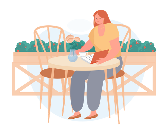 Girl reading book in a cafeteria Illustration