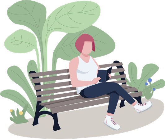 Girl reading book in park Illustration