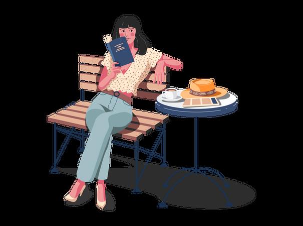 Girl reading book in restaurant Illustration