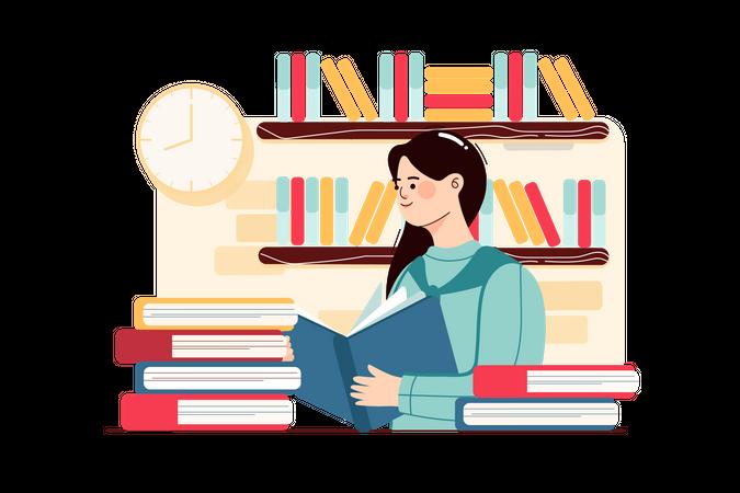 Girl reading book in school library Illustration