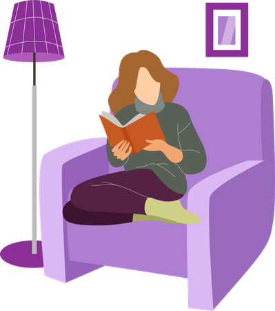 Girl reading book on chair Illustration