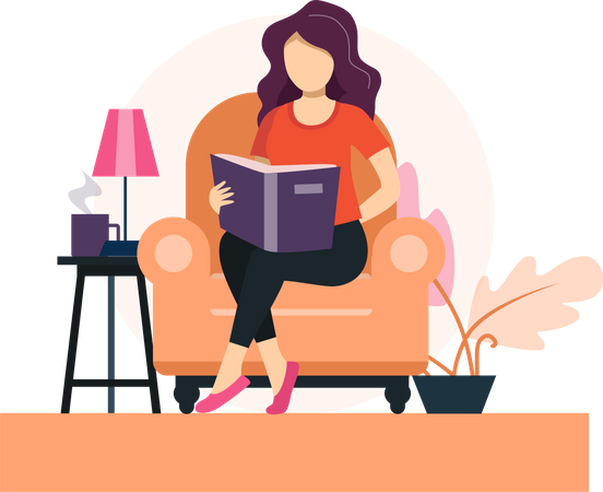 Girl reading book on sofa Illustration