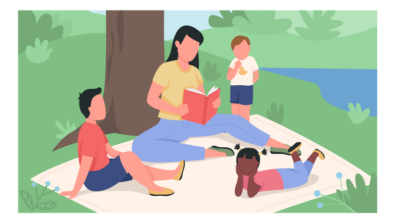 Girl reading book to kids in the park flat color vector illustration Illustration