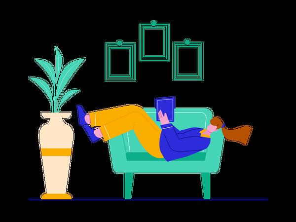 Girl reading book while sleeping on sofa Illustration