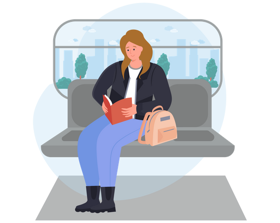 Girl reading book while travelling in a train Illustration
