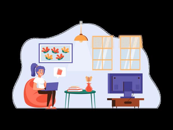 Girl reading from E-book Illustration