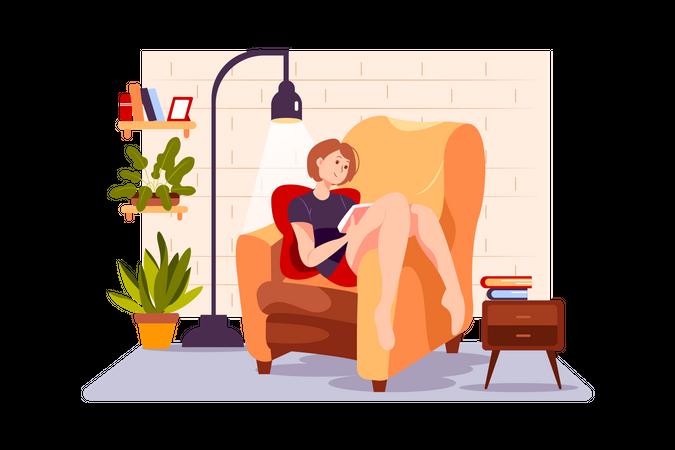 Girl reading novel during quarantine Illustration