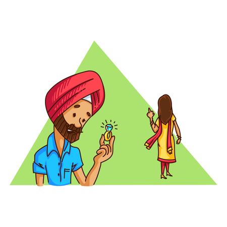Girl refusing punjabi man engagement proposal Illustration