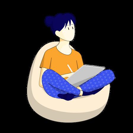 Girl relaxing on bean bag Illustration