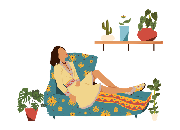 Girl relaxing on couch Illustration
