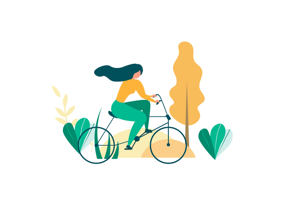 Girl riding bicycle Illustration