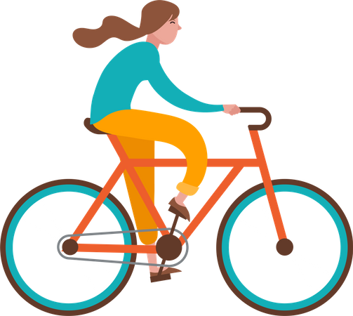 Girl Riding Cycle Illustration