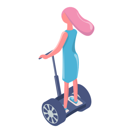 Girl riding electric scooter Illustration