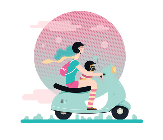 Girl riding on a scooter Illustration