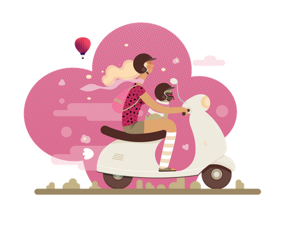 Girl riding scooter with her dog Illustration