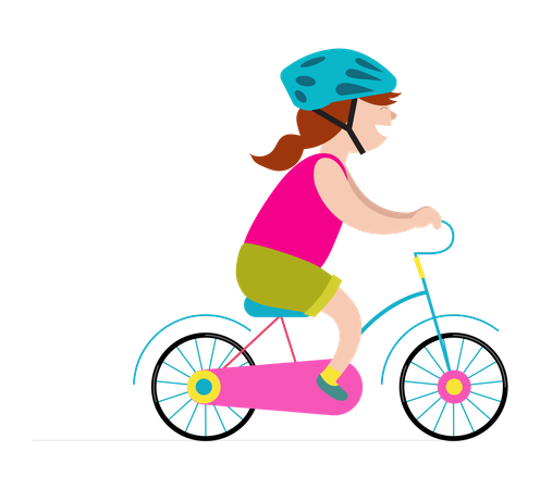 Girl riding small bicycle Illustration