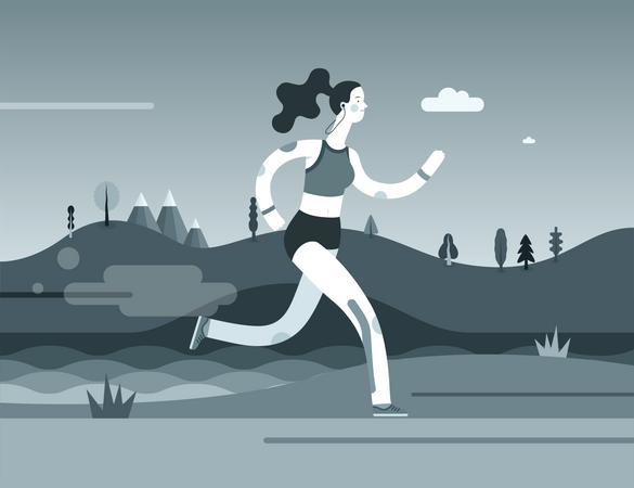 Girl Running Illustration