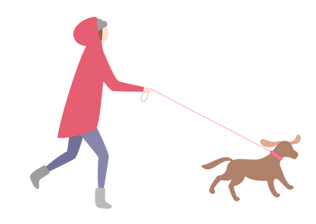 Girl running with dog Illustration