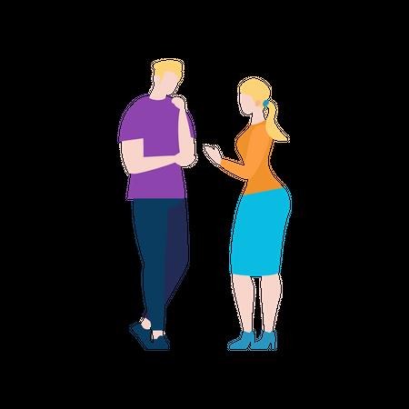 Girl saying to boy Illustration