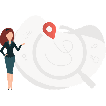Girl searching for location Illustration