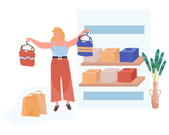 Girl Selecting Clothes In Shopping Mall Illustration