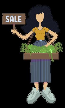 Girl selling fresh vegetables Illustration
