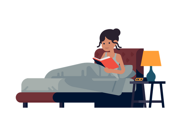 Girl siting on bed reading book Illustration