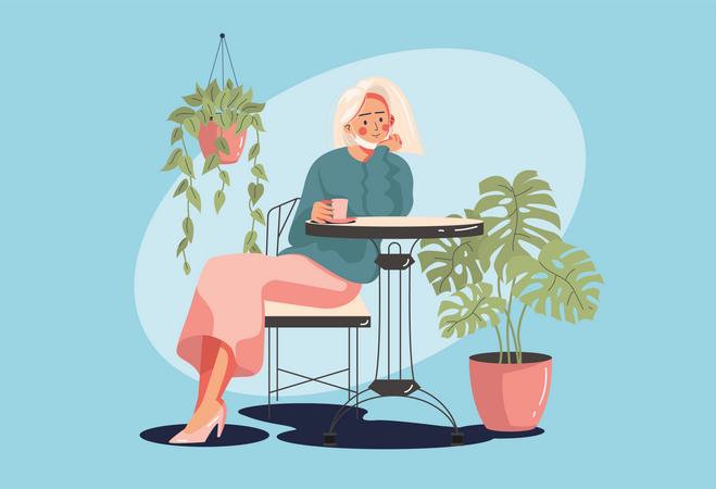 Girl sitting in restaurant Illustration