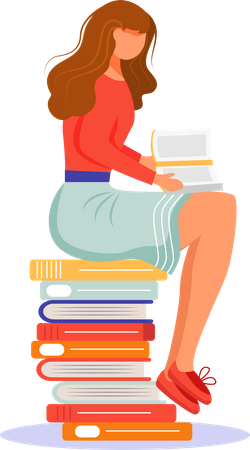 Girl sitting on stack of textbooks Illustration