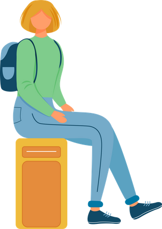 Girl sitting on suitcase Illustration