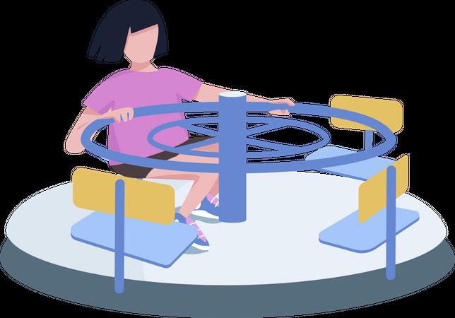 Girl spinning on carousel Illustration