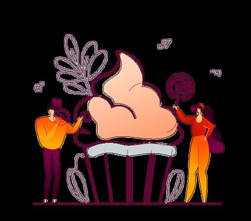 Girl standing near sweet dish Illustration