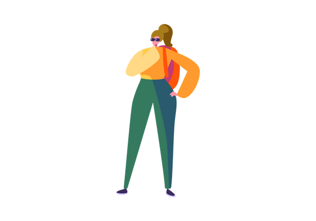 Girl standing with backpack Illustration