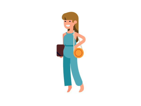 Girl standing with file in her hand Illustration
