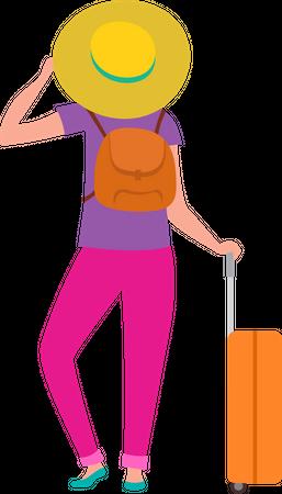 Girl standing with travel bag Illustration