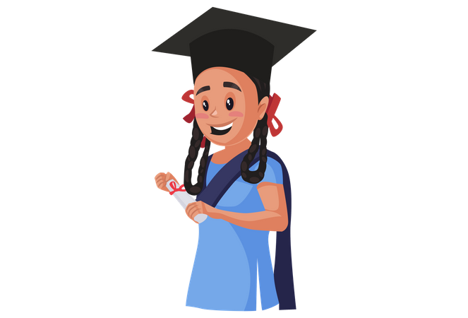 Girl student completed her studies Illustration
