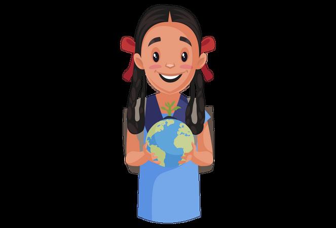 Girl student holding globe in her hand Illustration