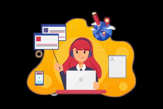 Girl student learning online Illustration