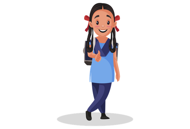 Girl student showing thumbs up Illustration
