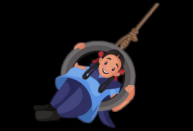 Girl student sitting in tyre swing Illustration