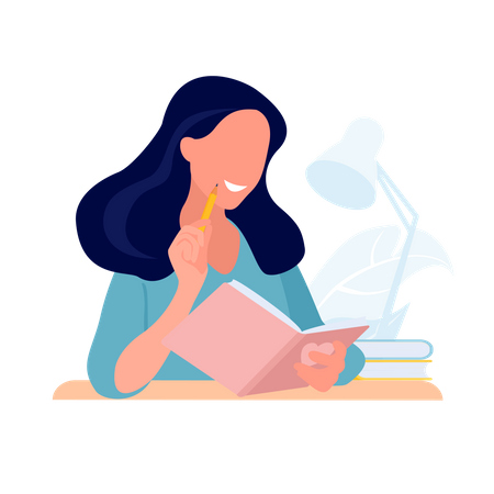 Girl Student studying with book Illustration