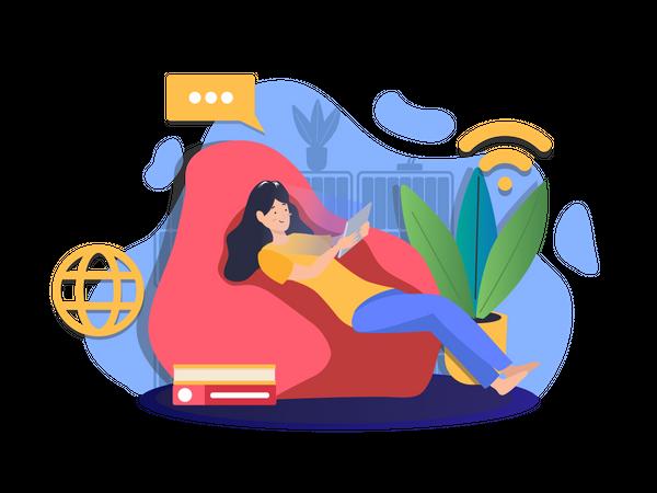 Girl studying online Illustration