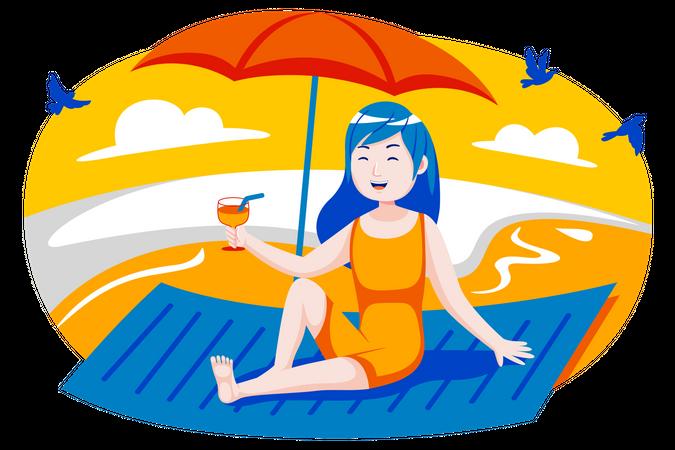Girl sunbathing at beach Illustration