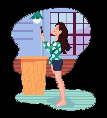 Girl switching on smart light Illustration