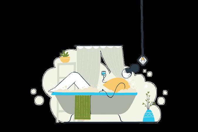 Girl taking bath Illustration