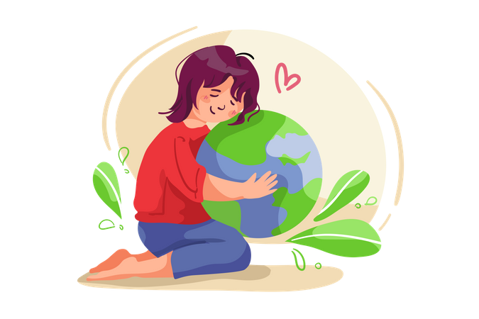Girl taking care about nature Illustration