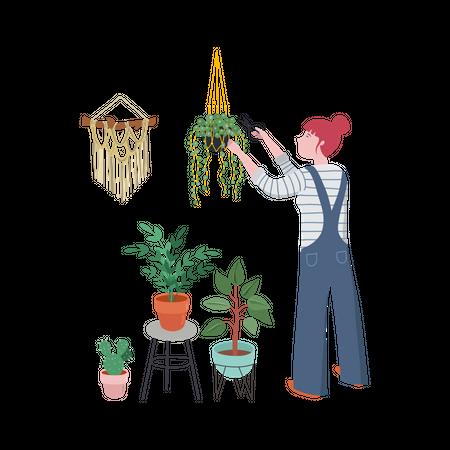 Girl taking cutting plant Illustration